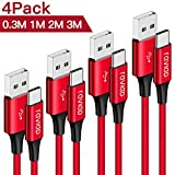 RAVIAD USB Typ C Kabel, [4Pack 0.3M 1M 2M 3M] 3A Nylon Typ C Ladekabel & Datenkabel Fast Charge Sync Schnellladekabel für Samsung Galaxy S10/S9/S8, Huawei P30/P20/P10, Sony Xperia XZ, Google Pixel
