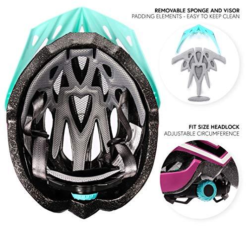 meteor Fahrradhelm Herren Damen Kinder-Helm rollerhelm mädchen kinderfahrradhelm rennradhelm Mountainbike Inliner skaterhelm fahradhelm Scooter Jungen Bike Helmet (S (52-56cm), Aubergine) - 3