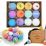 Bath Bombs Gift Set 12 Pack, Kit de bomba de baño de aceite esencial natural y sal marina para hidratar profundamente la piel, con tarjeta de felicitación, regalo para mujeres, mamá, ella, niños