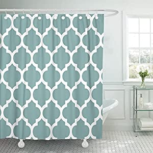 Accrocn Waterproof Shower Curtain Curtains Fabric Classic Quatrefoil In Sea Glass Blue And White Extra Long 72x96 Inches Decorative Bathroom Odorless Eco Friendly Anti Bacterial
