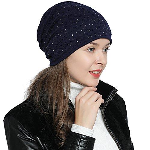 DonDon Mujer Gorro de invierno con estrás lentejuela e forro interior suave - Azul oscuro