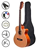 Zabel Acoustic Guitar 40 Inches Matt Finish, Natural, With Super Combo Guitar Bag, Strings, Strap,...
