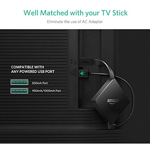 UGREEN Mini Power Cable for Fire TV Stick, Chromecast Ultra, Roku Streaming Stick, NOW TV Smart Stick Short Micro USB Charging Cord TV Power Lead 90 and 270 Degree Right Angled, 2 Pack, 15cm, Black
