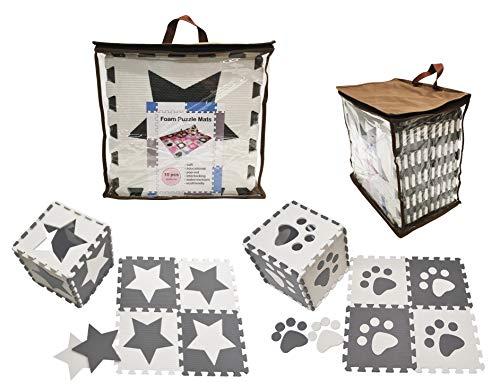 Happykiddoos Puzzlespielmatte. 20 Foam Matte. Spielmatte Schaumstoff Verriegelung Puzzle Kinderteppich. Gesamtgröße 150 x 120cm. Inkl. Aufbewahrungstasche(Stern/Fuß 20 Matte, Grau/weiß)