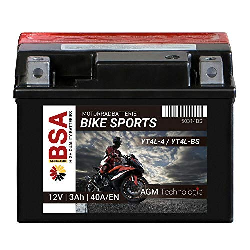 BSA BIKE SPORTS AGM Motorrad Batterie 3Ah 12V YTX4L-BS 40A Erstausrüsterqualität trocken vorgeladen inkl. Säurepack total wartungsfreie Starterbatterie