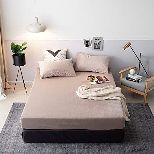 Claean-Acces-Home Cover Protector Matresss Bed Coral Velvet Solid Bedspread Winter Warm Velvet Bedding Pillowcase-Light Coffee_120Cm200Cm Is Suitable For 4-26Cm Thick Mattress