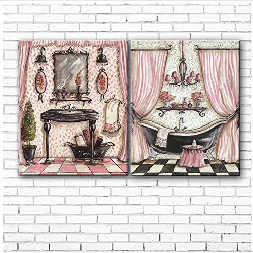 chthsx Pastorale badkamer douchegordijnen landschap cartoon olieverfschilderij druk op canvas woonkamer muurkunst decoratie foto's -40x50x2Pcscm geen lijst gedrukt