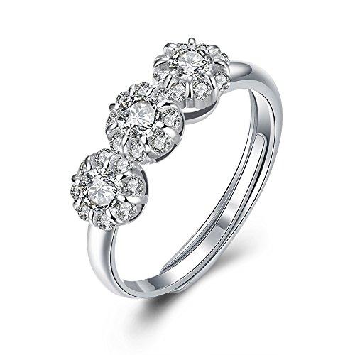 NYKKOLA originele 925 sterling zilveren ring band zirkonia kristal drie steen vrouwen bruiloft beloften ringen gift