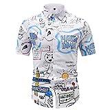 Camisas clásicas de los Hombres, Vestido Impreso Camiseta-algodón Casual Manga Corta Camisa de Ajuste Regular, Citas al Aire Libre,Blanco,XL