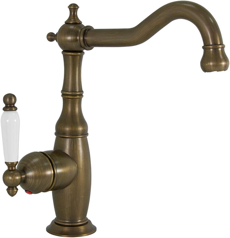 Bathroom Wash Basin Mono Tap Mixer Antique Brass Swivel Spout Sanlingo