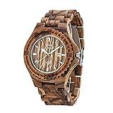 AMEXI orologi in legno orologio al quarzo analogico di legno di zebra per gli uomini fatto a mano...