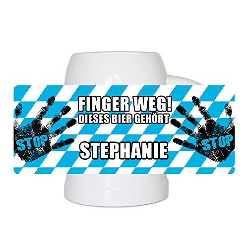 Lustiger Bierkrug mit Namen Stephanie und schönem Motiv Finger weg! Dieses Bier gehört Stephanie | Bier-Humpen | Bier-Seidel