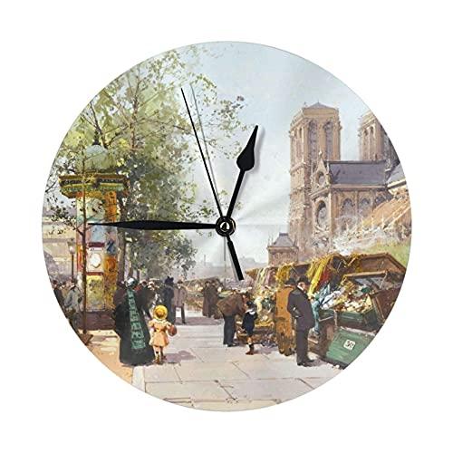 GOSMAO Round Wall Clock,Notre Dame De Paris Street,Hanging Clock Desk Clock Decorative Clock For Home School Office