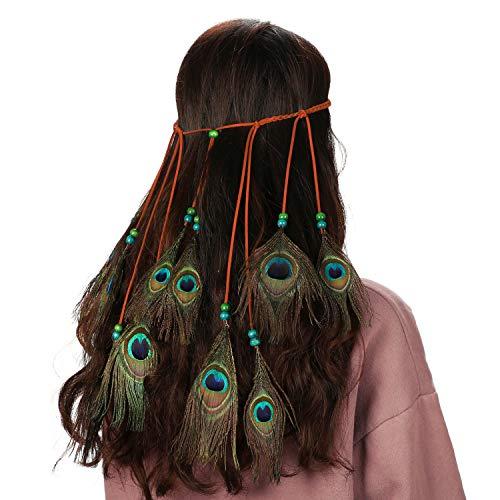 Mwoot Fascia per capelli in Piuma Donne Indiana Bohemia Copricapo Accessori per capelli Piuma Headband per feste e festival carnevale, vestiti da sera