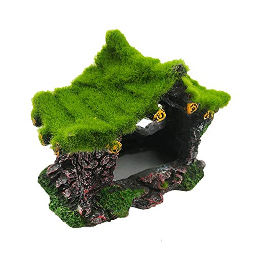 Tfwadmx Aquarium Decoration House Resin Hollow Hideout House, Betta Fish Log Driftwood Accessories Cave Ornament Tank Small Fish Hideaway with Moss