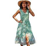 Vestido de Verano sin Mangas con Estampado Floral para Mujer Vestidos a Media Pierna fluidos con Volantes y con Cuello en V (Verde, S)