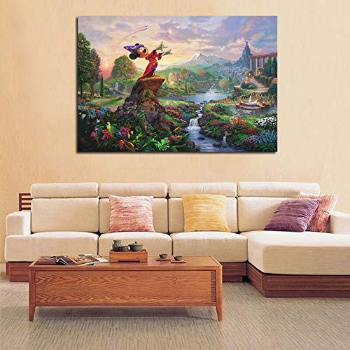 YuanMinglu Cartoon Maus kleine schöne meerjungfrau Charakter Moderne leinwand Wand Poster kinderzimmer Dekoration drucken Bild rahmenlose malerei 60x90 cm