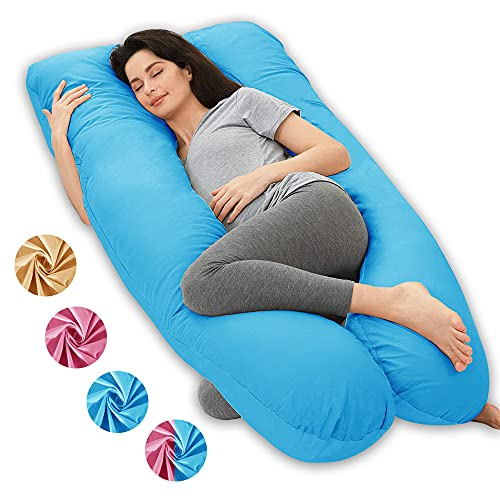 Wndy's Dream Funda de Almohada de Embarazo en Forma de U, desenfundable y Lavable de algodón