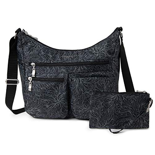 Baggallini womens Everywhere Bagg With Rfid Hobo Bag, Midnight Blossom, One Size US