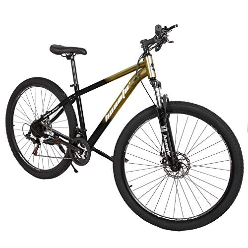 Mountain Bike for Adults, 29 inch 21 Speeds Mountain Bicycle with Suspension Fork, Dual Disc Brakes, Steel Frame City Bike