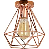iDEGU - Lampada da soffitto vintage, Ø 200 mm, in metallo, a forma di diamante, stile retrò, E27, lampada da soffitto per camera, bar, ristorante, cucina, oro rosa (oro rosa)