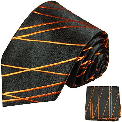 Cravate homme orange noir rayée ensemble de cravate 2 Pièces ( 100% Soie Cravate + Mouchoir )