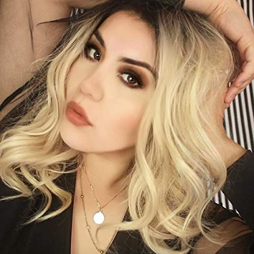 K'ryssma Ombre Bob Wig Blonde Dark Root 2 Tone Short Bob Wig Wavy Glueless Heat Resistant Hair Synthetic Wigs for Women