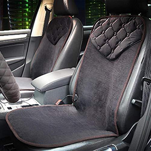 Easy-topbuy Coussin de Siège de Voiture en Flanelle Doux Coussin de Siège Chauffant 12V Chauffage de La Fibre de Carbone 30s Chauffage Rapide Lavable