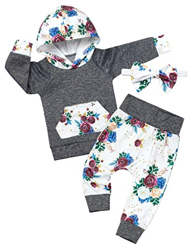 Baby Girl Clothes Long Sleeve Hoodie Sweatsuit Floral Pants Headband Infant Girl Outfit 3PC Set 12-18 Months Dark Gray