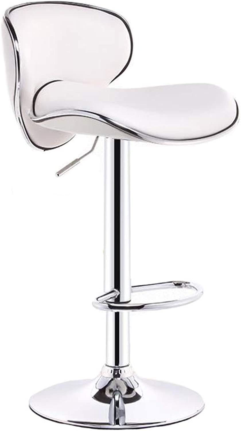 Dall Bar Stool PU Exterior Adjustable Gas Lift Chrome Plated Footrest Base Counter Home (color   White)