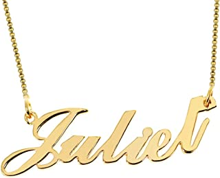 Name Necklace Personalized-18K Custom Made Pendant Jewelry Gift for Her Women Box Chain 14