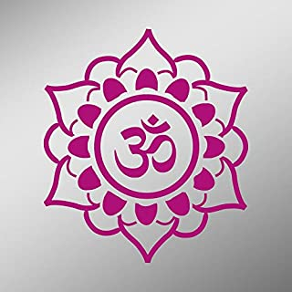 CMI DD810HP OM Symbol Flower Decal Sticker | 5.5-Inches By 5.4-Inches | Meditation Conciousness Religious Motivational Inspirational | Premium Quality Hot Pink Vinyl