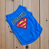 SHMR Ropa para Perros Cachorro Ropa para Mascotas Chaleco para Perros de Verano Superman Camiseta para Perros Fresca y Transpirable para Perros pequeños, Azul, S