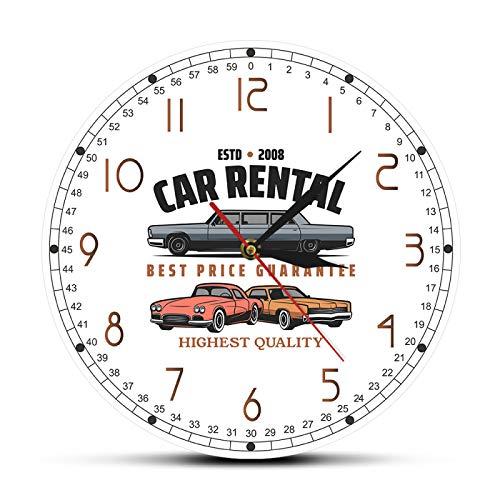 gongyu Alquiler de Coches Logotipo de Empresa Personalizado Reloj de Pared Alquiler de Coches Decoración de Oficina Arte de la Pared Garaje Reloj de Pared Mecánico Personalizado Conductores Regalo