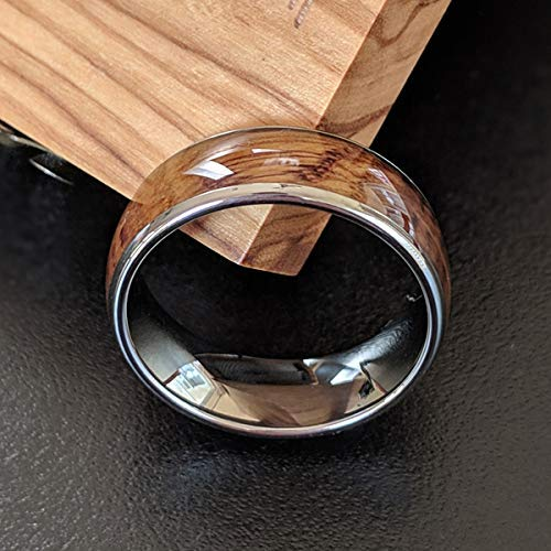 Whiskey Barrel Rings For Men - Tungsten Wedding Band Mens Ring - 8mm Bourbon Barrel Wooden Ring