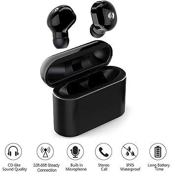 LAKASARA Wireless Earbuds, TWS Headphones in-Ear Headset Bluetooth 5.0 IPX5 Waterproof 3D Hi-Fi Stereo Sound Wireless Earpods with Microphone, Black