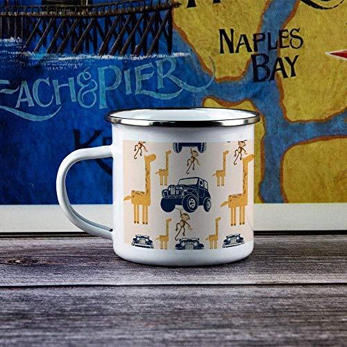 Enamel Camp Mug Tumbler with Handle Camping Flask Durable Hiking Campfire Coffee Tea Travel Mug for Hot & Cold Drinks for Husband Dad Grandpa Grandma - Cartoon Jeep Giraffe with Monkey - 10 oz
