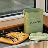 KitchenCraft Living Nostalgia Küchenkomposteimer aus Metall, Stahl, grün - 4