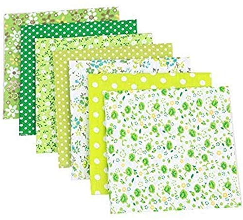 "RAILONCH 7pcs Floral Cotton Fabric 19.7""x19.7"" Textile Quilting Patchwork Fabric Fat Quarter Bundles Fabric for Scrapbooking Cloth Sewing DIY Crafts Pillows (Green)"