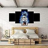 Lienzo en Cuadro Abstracto Moderno200x100cm Impresión Superhéroe Dragon Anime Película Amarillo Neón Goku 5 Piezas Material Tejido no Tejido Impresión Artística Imagen Gráfica Decoracion de Pared Arte