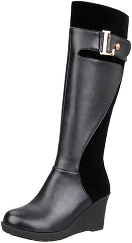 CuteFlats Women Knee High Wedge Boots Black