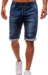 Pantalones Cortos Hombre Vaqueros Moda Casuales Elásticos Tallas Grandes Pantalones Cortos con Bolsillos