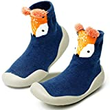 Baby Toddler Sock Shoes TPE Sole Non-Skid Floor Slipper Baby Boy Girls Breathable Thick Indoor Outdoor Winter Warm Shoes Socks-Blue