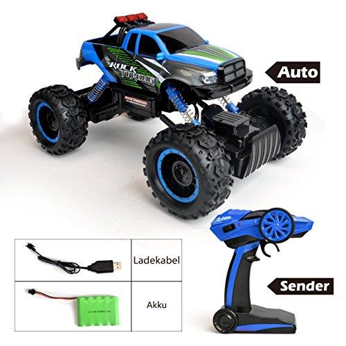 RC Auto kaufen Monstertruck Bild 5: Maximum RC Ferngesteuertes Auto für Kinder - 4WD Monstertruck - XL RC Auto für Kinder ab 8 Jahren - Rock Crawler (blau)*