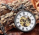 LOOIUEX Reloj de Bolsillo Gran Oferta, Relojes de Bolsillo de Cuerda Manual, Marca de Lujo Antigua, Moda, Reloj de Bolsillo mecánico Transparente único, Cadena Fob para Hombre