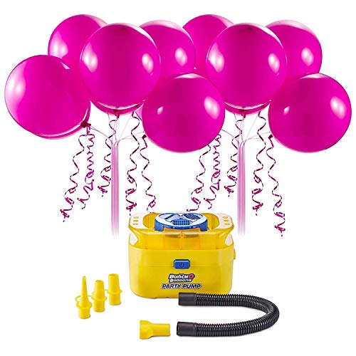Bunch O Balloons Portable Party Balloon Electric Air Pump Starter Pack (Includes 16x 11 Inch Self-Sealing Pink Latex Balloons)