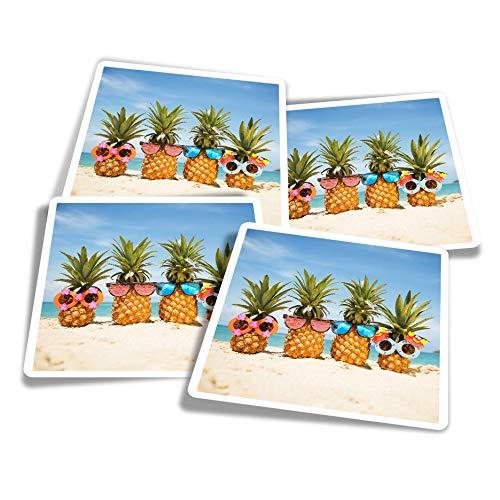 Pegatinas de vinilo (juego de 4) 10 cm – Piñas en la playa divertidas calcomanías para portátiles, tabletas, equipaje, reserva de chatarra, neveras #16726