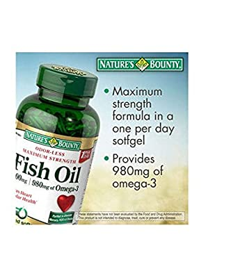Nature's Bounty Maximum Strength Fish Oil 1,400 mg - 980 mg Omega-3 - 130 Enteric Coated Liquid Softgels Single & Multi Packs (Two Bottles each of 130 Softgels)
