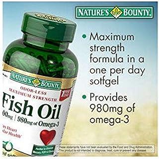 Nature's Bounty Maximum Strength Fish Oil 1,400 mg - 980 mg Omega-3 - 130 Enteric Coated Liquid Softgels Single & Multi Pa...