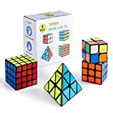 Yetech 4PCS Speed Magico Cubo Set - Smooth Magic Puzzle Cube 2x2x2 3x3x3 4x4x4 Piramide Triangolo Cube Miglior Regalo per Bambini Adulti